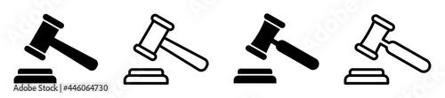Obraz na plátně Set of gavel icons, legal gavel