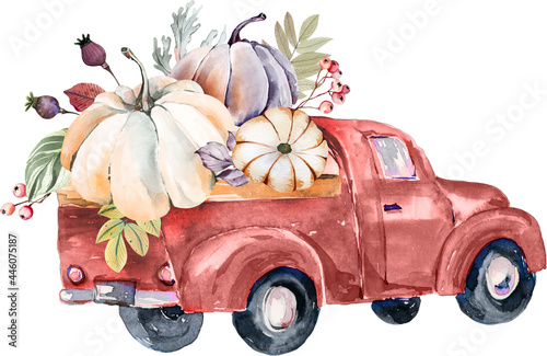 Fototapeta watercolor harvest truck, fall pumpkin harvest clipart