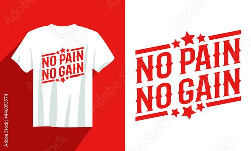 Fotografia no pain no gain gym t shirt design, vintage gym t shirt design vector, typograph