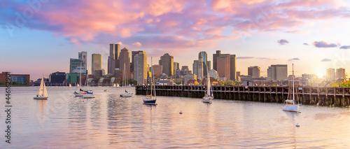 Fotografie, Obraz Boston Harbour skyline and Financial District  in Massachusetts, USA