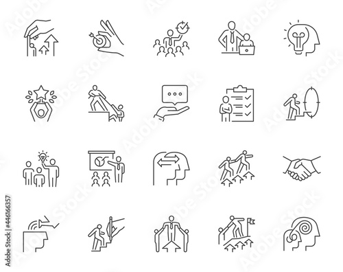 Tableau sur Toile Set of mentoring related line icons
