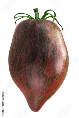 Photo Rebel Starfighter Prime heirloom tomato (Solanum lycopersicum fruit) isolated