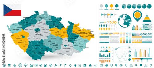 Fotografie, Obraz Czech Republic Map and Infographics design elements
