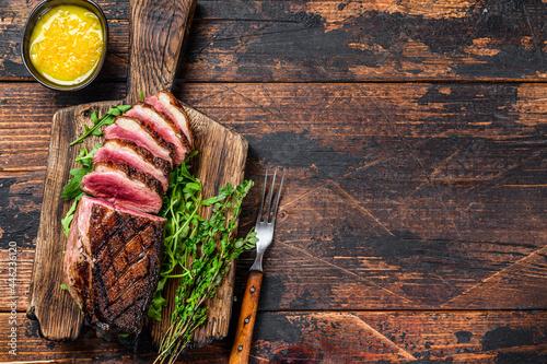 Stampa su Tela Sliced grilled duck meat breast fillet steak