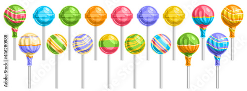 Fotografia Vector set of Lollipops, lot collection of 17 cut out illustrations of different wrapping and striped lollipops on sticks, banner with group of isolated tasty fruity candies on white background