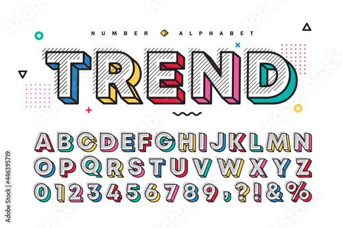 Fotografie, Tablou 3D multicolor memphis alphabet  number set