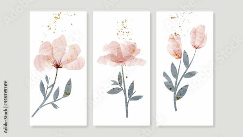 Fotografia Flower watercolor art triptych wall art vector