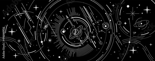 Vector abstract space illustration with star, planet and white color line