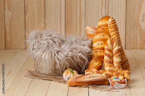 newborn digital backdrop bread in a basket Fototapeta