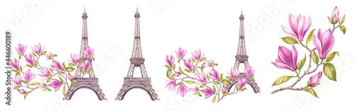 Fotografiet Watercolor elements of the Eiffel tower