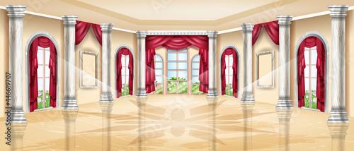 Fotografering Luxury palace interior, vector royal ballroom background, classic wedding banquet hall, marble column