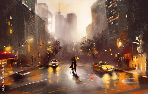 Fotografia oil painting on canvas, street view of New York, man and woman, yellow taxi,  mo