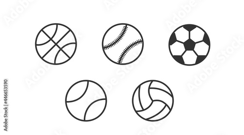 Valokuva Sport balls icon set