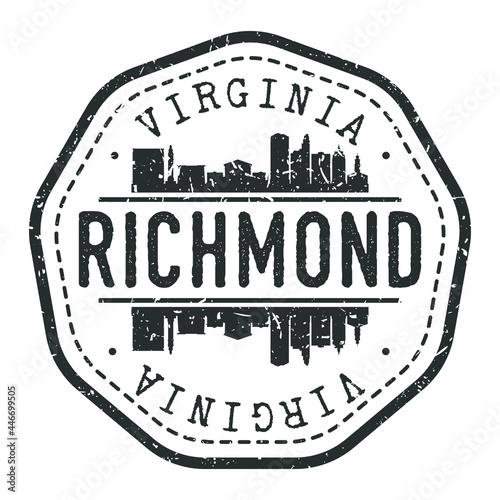 Richmond, VA, USA Stamp Skyline Postmark Fototapeta