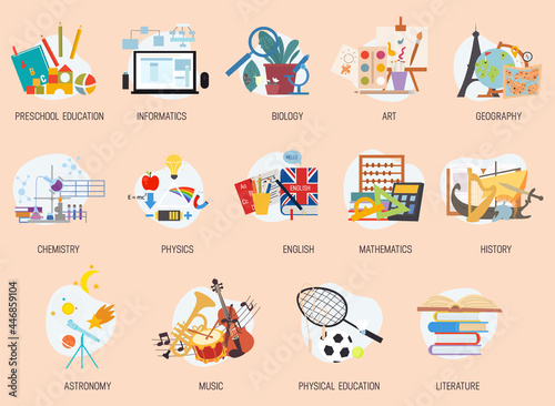 Wallpaper Mural Colorful education and school lesson subjects icons