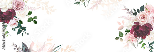 Floral banner arranged from leaves and flowers. Peony, greenery and roses card.