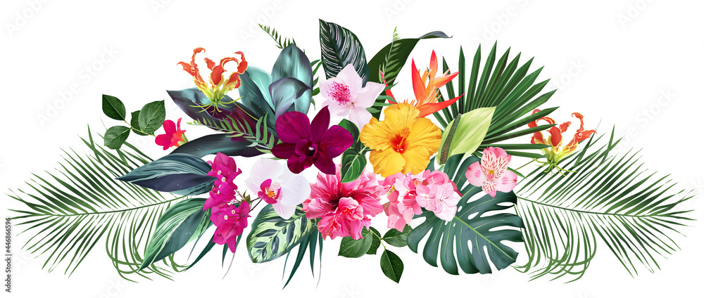 Wall mural Exotic tropical flowers, orchid, strelitzia, hibiscus, bougainvillea, gloriosa, palm, monstera leaves vector design bouquet