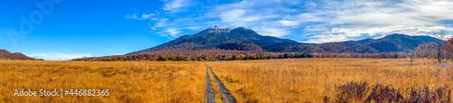 Fotografie, Obraz 尾瀬ヶ原湿原の紅葉の風景 燧ヶ岳 至仏山 Scenery of autumn leaves in Ozegahara marshland Mt