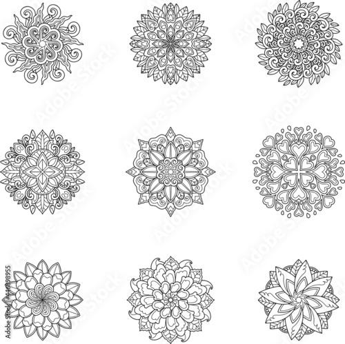 Canvas shape, art, henna, isolated, tattoo, ornament, floral, yoga, circle, background,