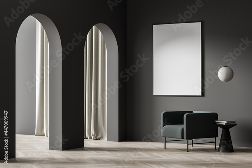 White poster in the dark room corner with the archways and armchair Fototapete
