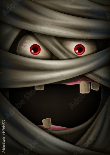Canvastavla scary face of mummy banner for halloween