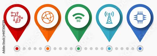 Fotografering Technology, internet, mobile concept vector icon set, flat design pointers, info