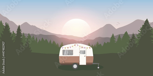 wanderlust camping adventure in the wilderness with camper Fototapet