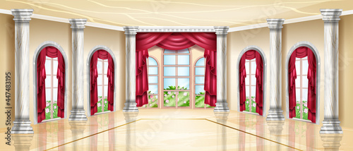 Fotografia Empty palace interior, luxury vector ballroom, royal wedding banquet hall, arch window, marble floor