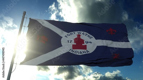 Fotografia, Obraz Fort Wayne city flag, city of Indiana in USA or United States of America, waving at wind in blue sky