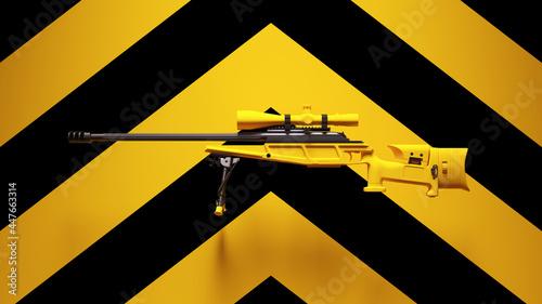 Canvas-taulu Yellow Black Sniper Rifle Gun Weapon Equipment Post-Punk with Yellow an Black Ch