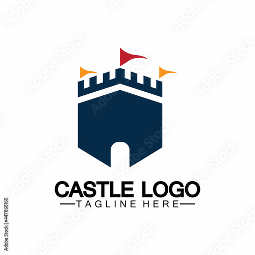 Murais de parede Castle Logo symbol vector illustration design template
