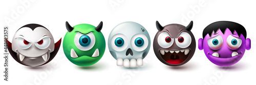 Valokuvatapetti Smileys demon emoji vector set