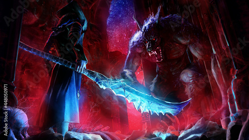 Photo A duel between a huge werewolf monster with a toothy snout  and bloody eyes and a warrior in a jacket and hat with a magical huge jagged machete, in the middle of ancient Gothic ruins at night