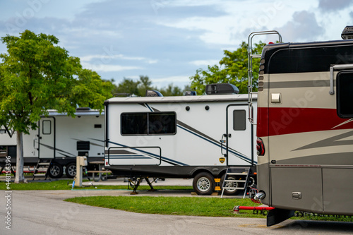Fotografiet Recreational vehicles RV at a camp ground