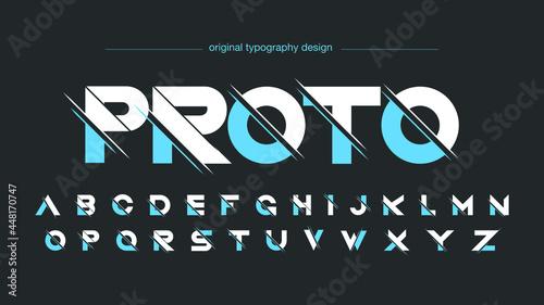 Fotografie, Obraz Blue sliced sports futuristic typography