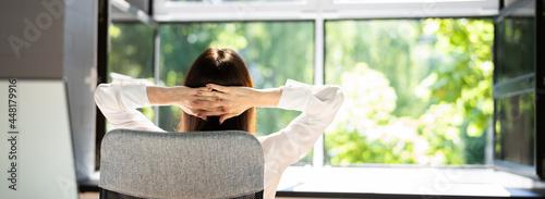 Fotografie, Obraz Open Window In Office. Breathing Fresh Air