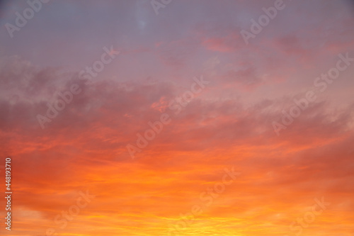 Red sky with clouds at sunset.