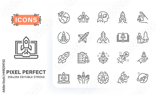 Fotografia Line creative icons of rocket with various symbols