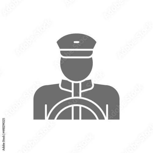 Fényképezés Vector taxi driver, cabbie, cabby gray icon.