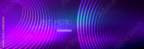 Dark abstract background with glowing neon circles. Trendy layout template for business or technology presentation, internet poster or web brochure cover, wallpaper