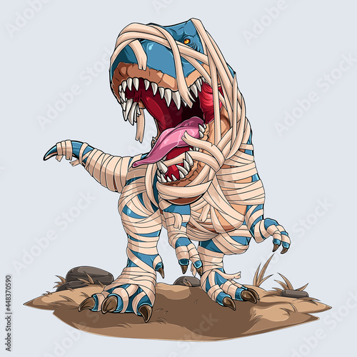 Tablou Canvas Scary mummy dinosaur trex roaring for halloween party