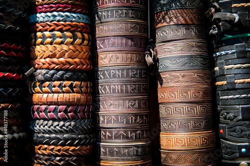 Tablou Canvas Nice handmade color leather bracelets on the exhibition of folk craftsmen