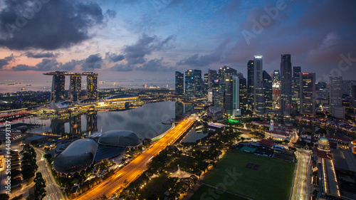 Singapore skyline at a sunset
