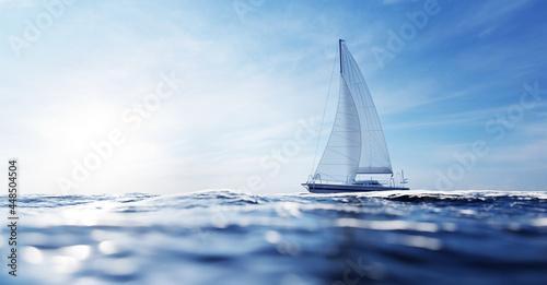 Carta da parati Sailing yacht on the ocean