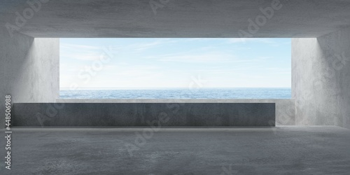Billede på lærred Abstract empty, modern concrete room with balcony and ocean view and rough floor