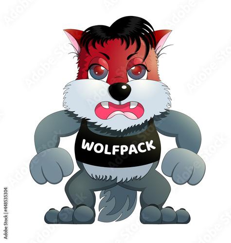 Photo Wolf cartoon emoji character  emoticons isolated on white background, kids child vector illustration