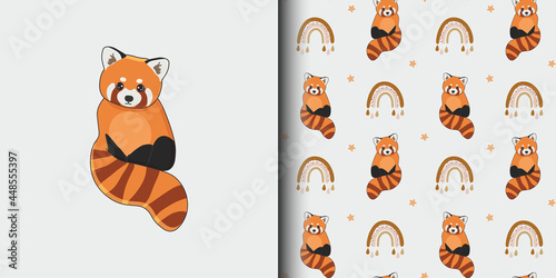 Seamless pattern and cartoon card for kid with cute red panda and rainbow Fototapeta