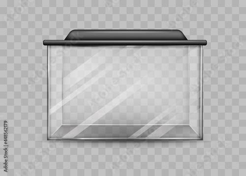 Transparent rectangular aquarium isolated template Tapéta, Fotótapéta