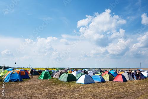 Vászonkép Tents on a music festival campsite