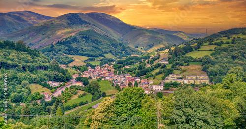Panoramic view of Pola de Allande in Asturias, Spain.